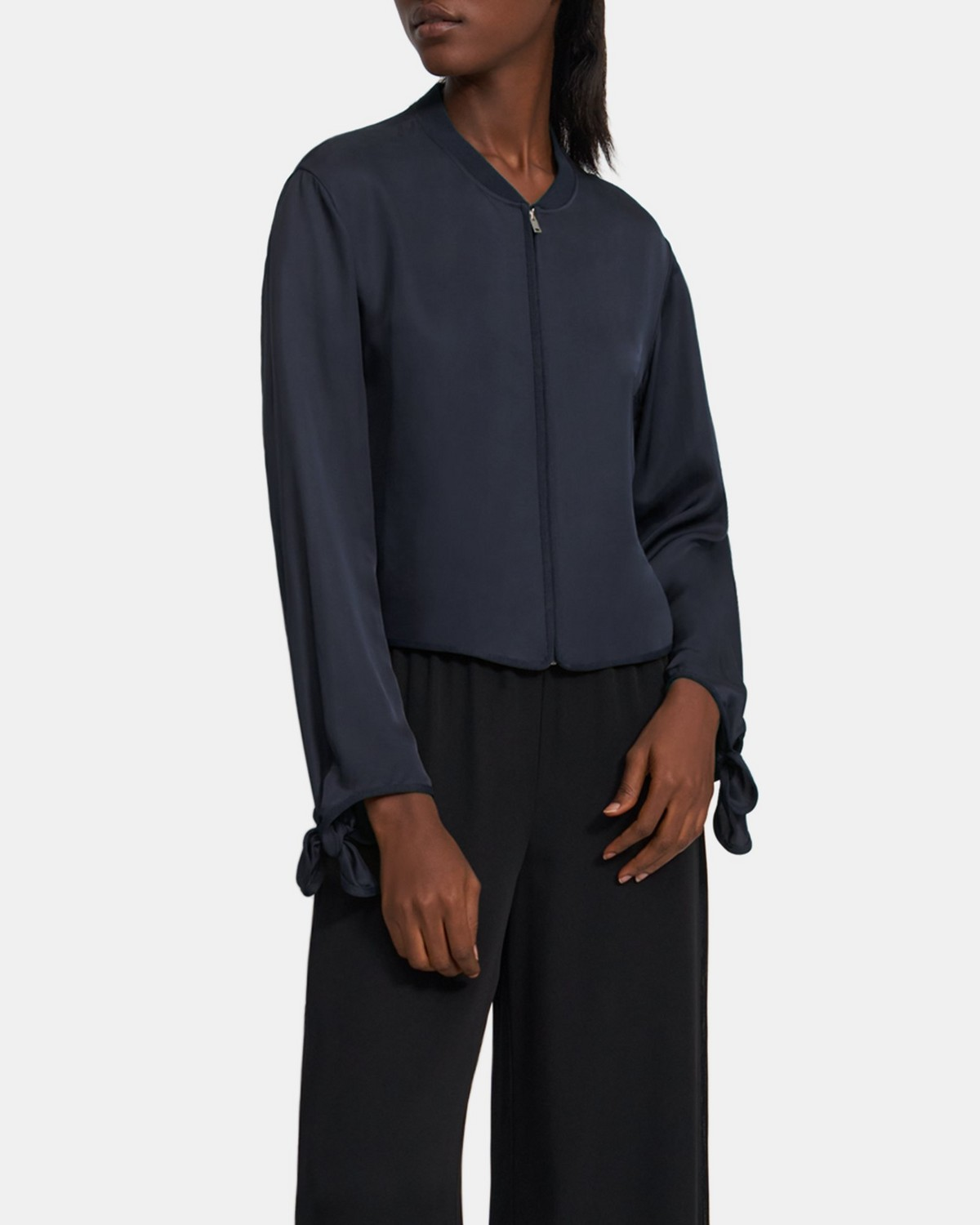 Tied-Sleeve Bomber Jacket in Viscose Twill