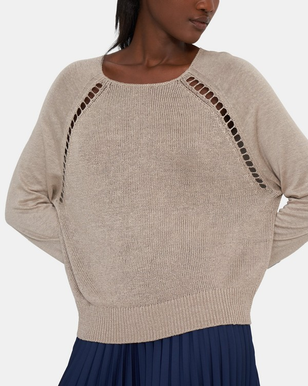 Pointelle-Sleeve Sweater in Linen Blend