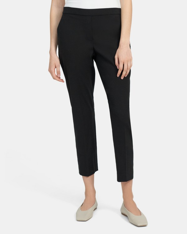 Slim Cropped Pull-On Pant in Linen