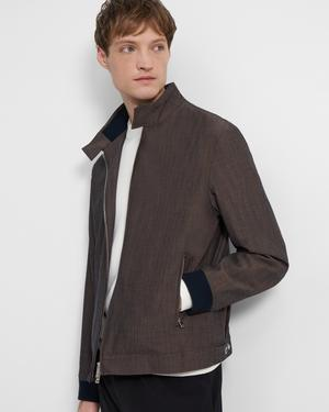 Stand-Collar Jacket in Mélange Wool