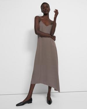 Asymmetrical Cami Dress in Dot Silk