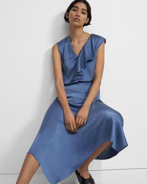 Asymmetrical Draped Skirt in Crushed Satin