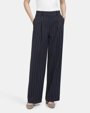 High-Rise Wide-Leg Pant in Striped Wool