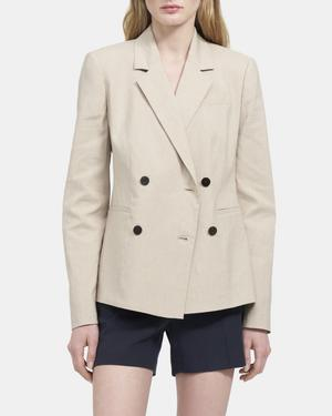 Double-Breasted Blazer in Mélange Linen