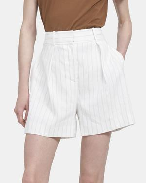 High-Waisted Pleated Short in Striped Linen