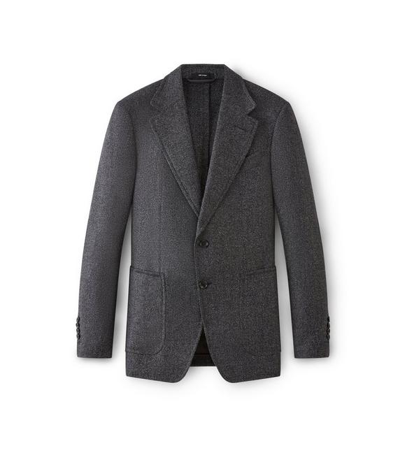 CHARCOAL SHELTON JACKET WITH SUEDE PATCHES A fullsize