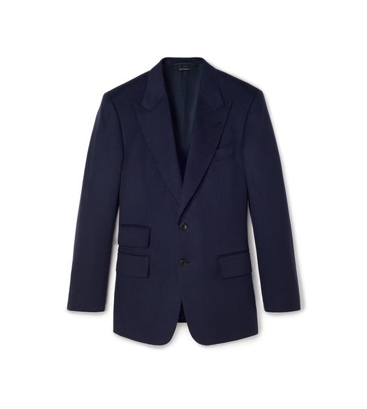 NAVY BRUSHED CASHMERE WINDSOR JACKET