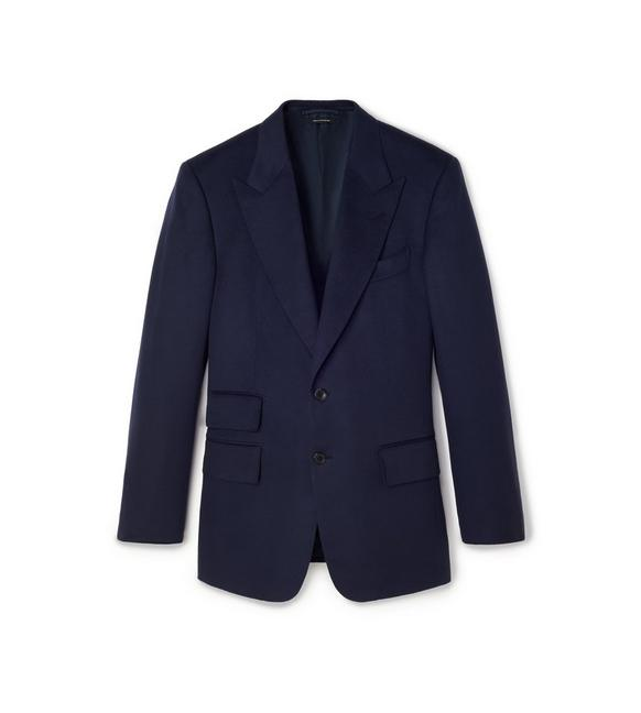 NAVY BRUSHED CASHMERE WINDSOR JACKET A fullsize