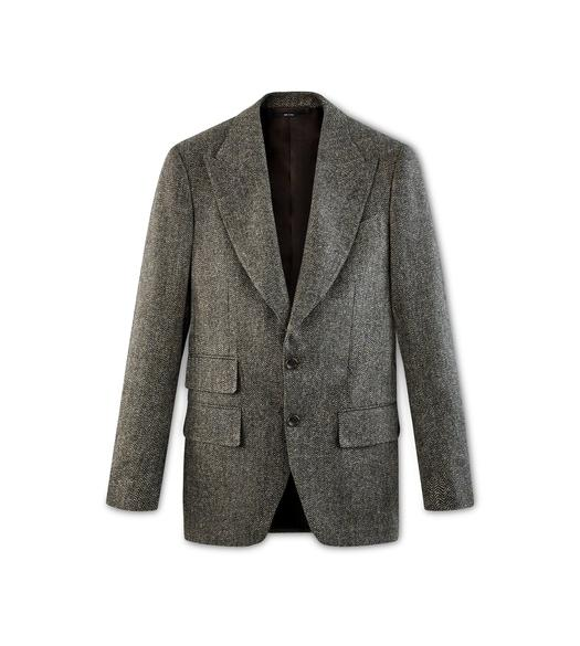 BEIGE HERRINGBONE TWEED ATTICUS JACKET