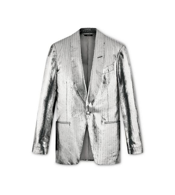 SILVER GEOMETRIC ATTICUS COCKTAIL JACKET A fullsize