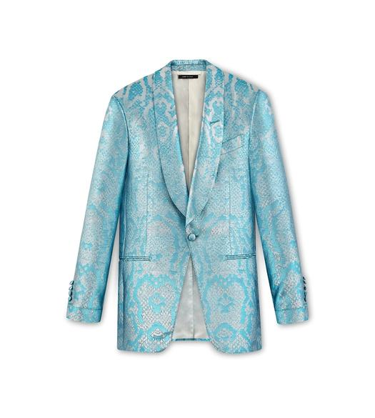 BLUE JACQUARD ATTICUS COCKTAIL JACKET