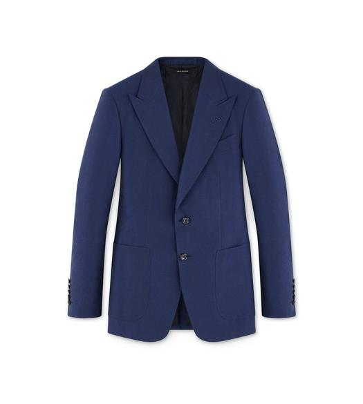 BLUE LINEN SHELTON JACKET