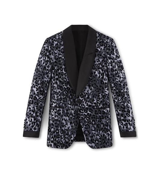 BLUE LEOPARD SHELTON COCKTAIL JACKET