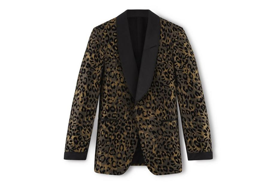 LEOPARD SHELTON SHAWL COLLAR EVENING JACKET A fullsize