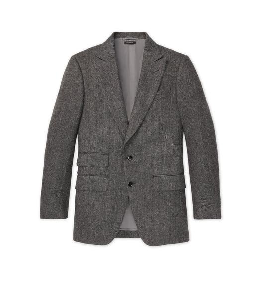 GREY TWEED HERRINGBONE ATTICUS JACKET