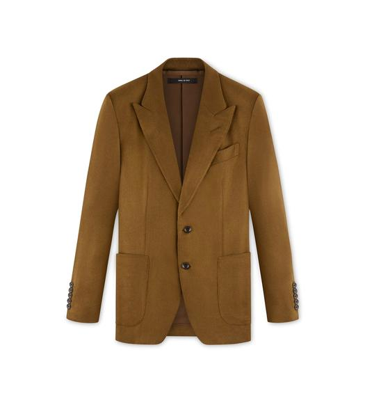 CAMEL BRUSHED CASHMERE SHELTON JACKET