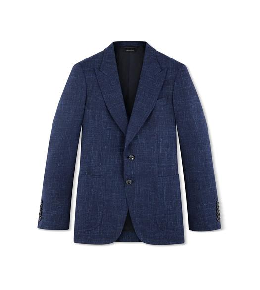 BLUE WOOL LINEN SHELTON JACKET
