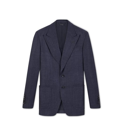 NAVY HOPSACK SHELTON JACKET