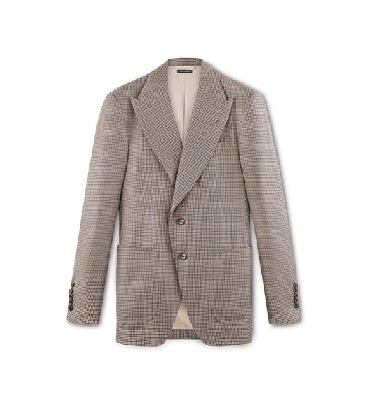 BROWN WOOL AND SILK HOUNDSTOOTH SHELTON JACKET