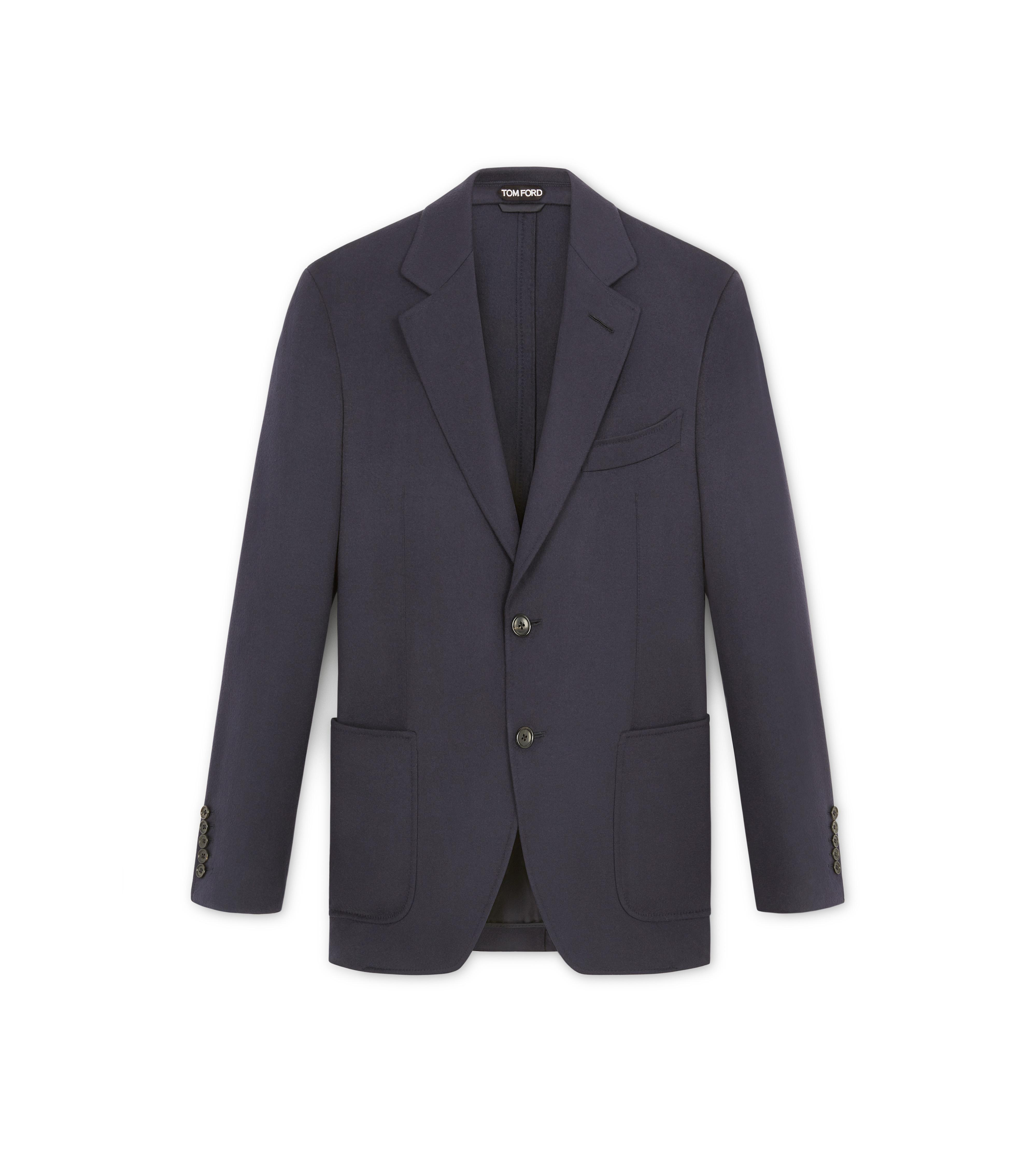 NAVY BRUSHED CASHMERE SHELTON SPORT JACKET A thumbnail