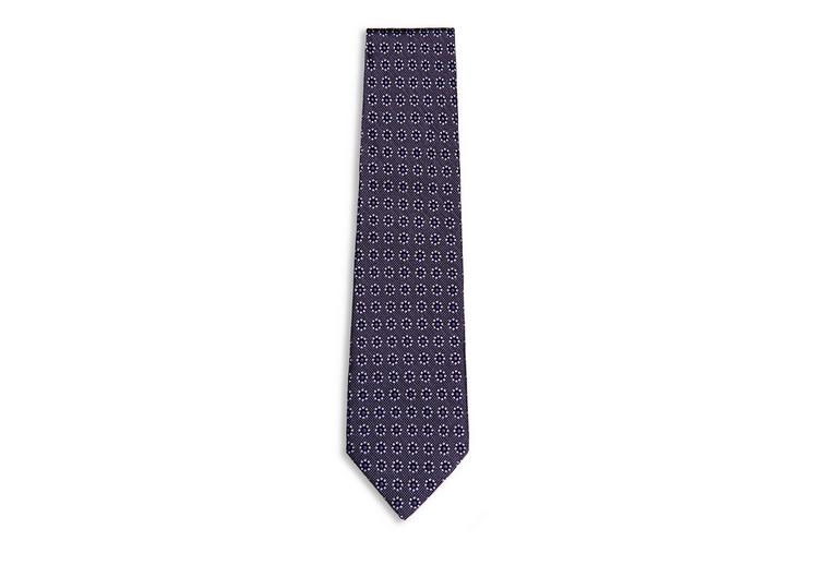 DOTTED FLOWER ON PIN DOTS CLASSIC SILK TIE A fullsize
