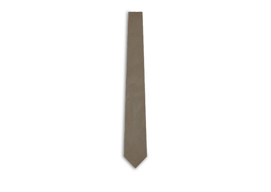 Tom Ford Herringbone Tie In Brownblack