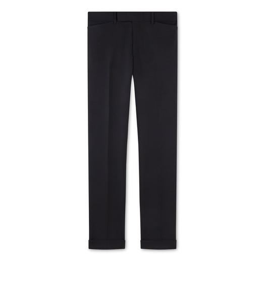 BLACK MOHAIR SHELTON TROUSERS