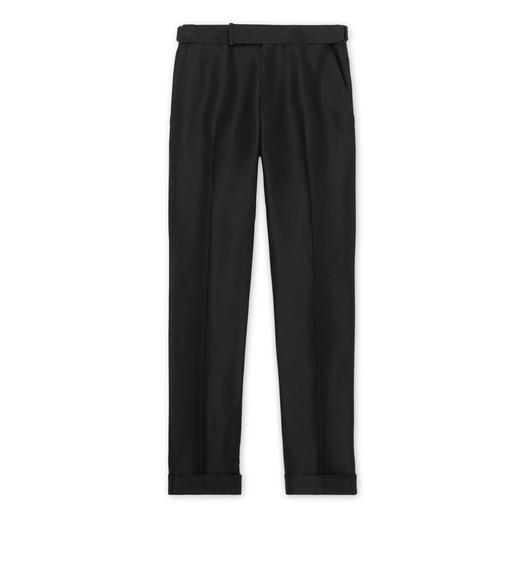BLACK SILK GROSGRAIN ATTICUS TROUSERS