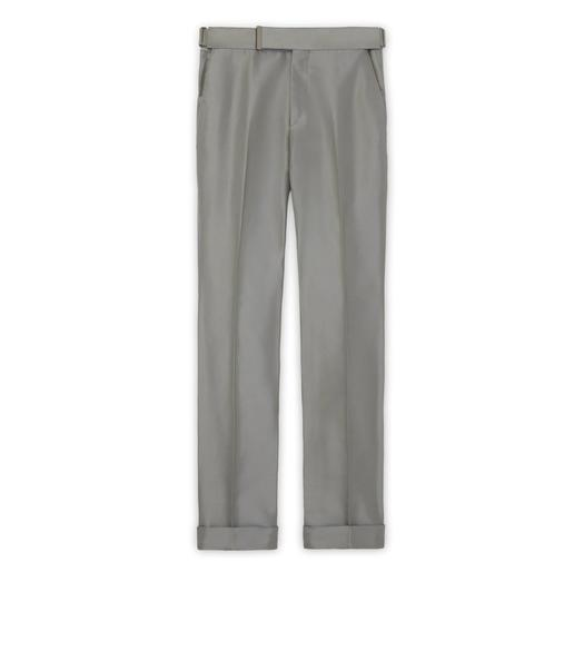 GREY SILK GROSGRAIN ATTICUS TROUSERS