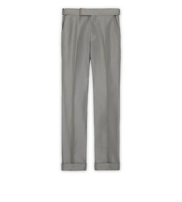 GREY SILK GROSGRAIN ATTICUS TROUSERS A fullsize