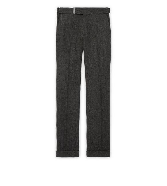 GREY TWEED HERRINGBONE ATTICUS TROUSERS A fullsize