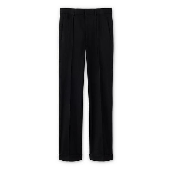 WOOL GABARDINE SHELTON PLEATED TROUSERS A fullsize
