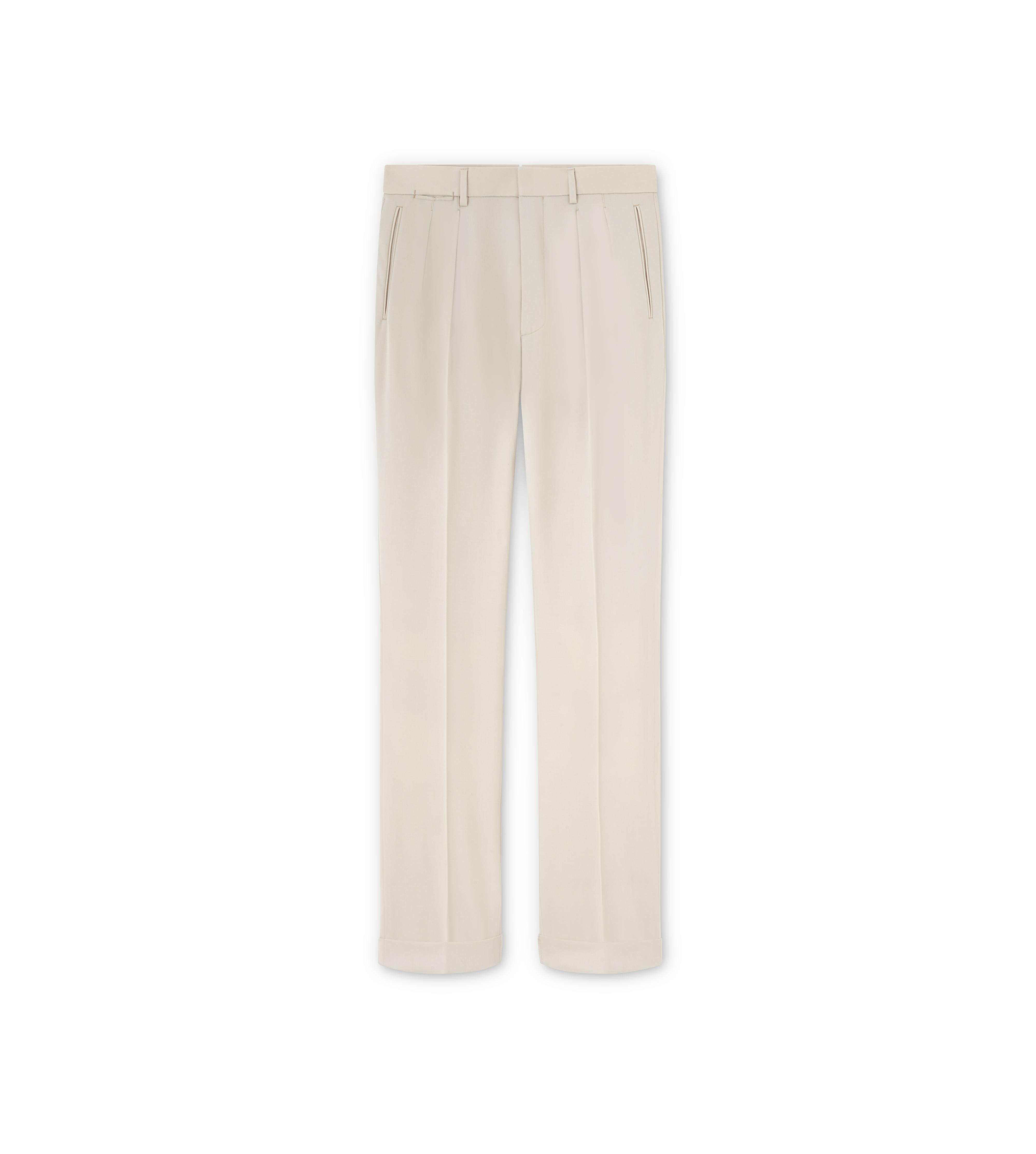 WOOL GABARDINE SHELTON PLEATED TROUSERS A thumbnail