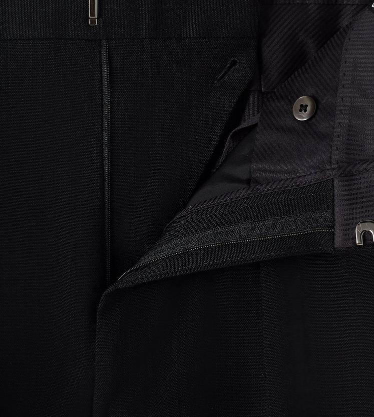 BLACK VISCOSE PANAMA STRETCH SHELTON PLEATED TROUSERS C fullsize