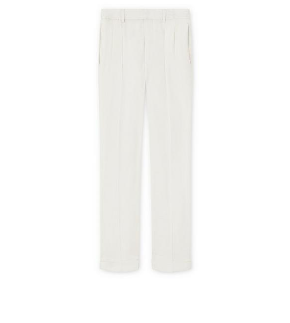 IVORY VISCOSE PANAMA STRETCH SHELTON PLEATED TROUSERS A fullsize