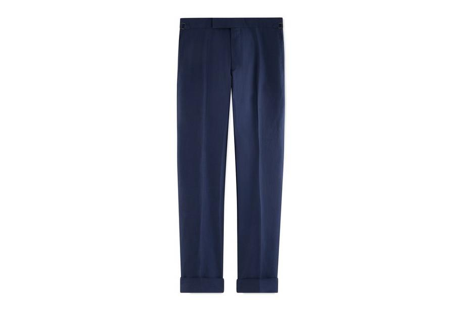 BLUE SILK LINEN SHELTON TROUSERS A fullsize