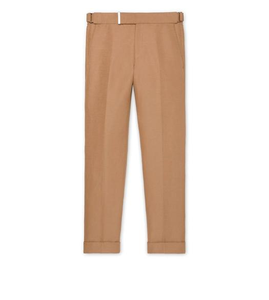 BEIGE LINEN SILK SHELTON TROUSERS