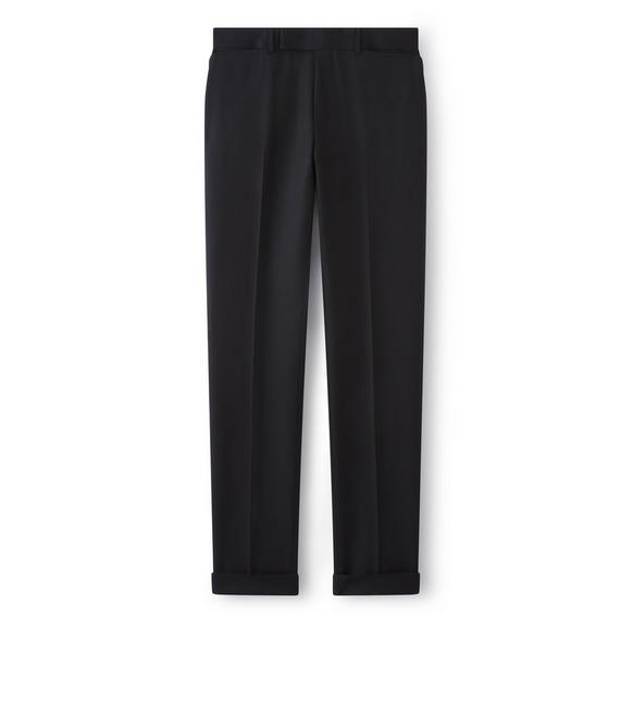 BLACK WOOL SLIM SPORT TROUSERS A fullsize