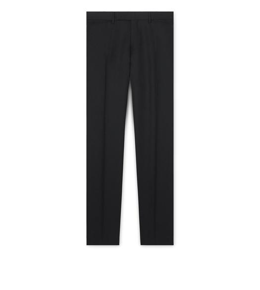 BLACK WOOL SLIM SPORT TROUSERS
