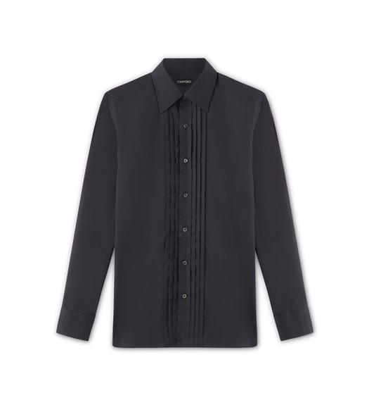 COTTON VOILE POINT COLLAR FINE PLISSE EVENING SHIRT