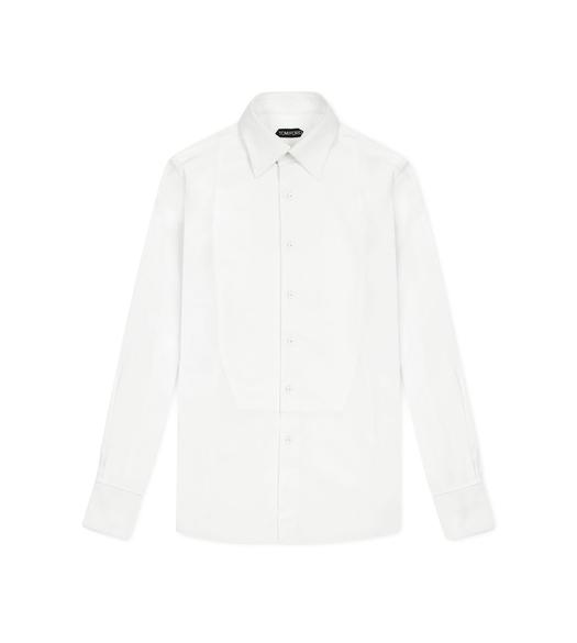 VOILE SLIM FIT PIQUET PLASTRON EVENING SHIRT