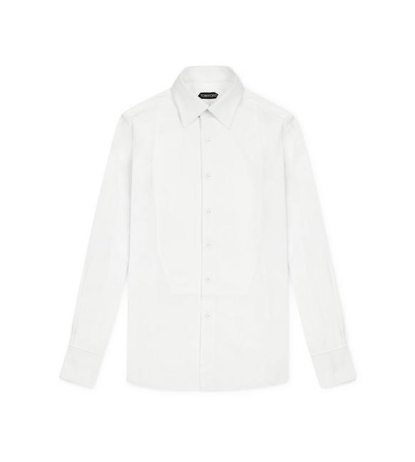 VOILE SLIM FIT PIQUET PLASTRON EVENING SHIRT A fullsize
