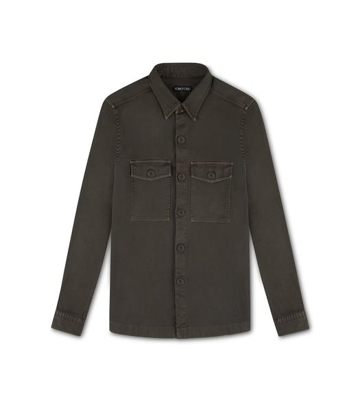 GARMENT DYED COTTON TWILL OVERSHIRT