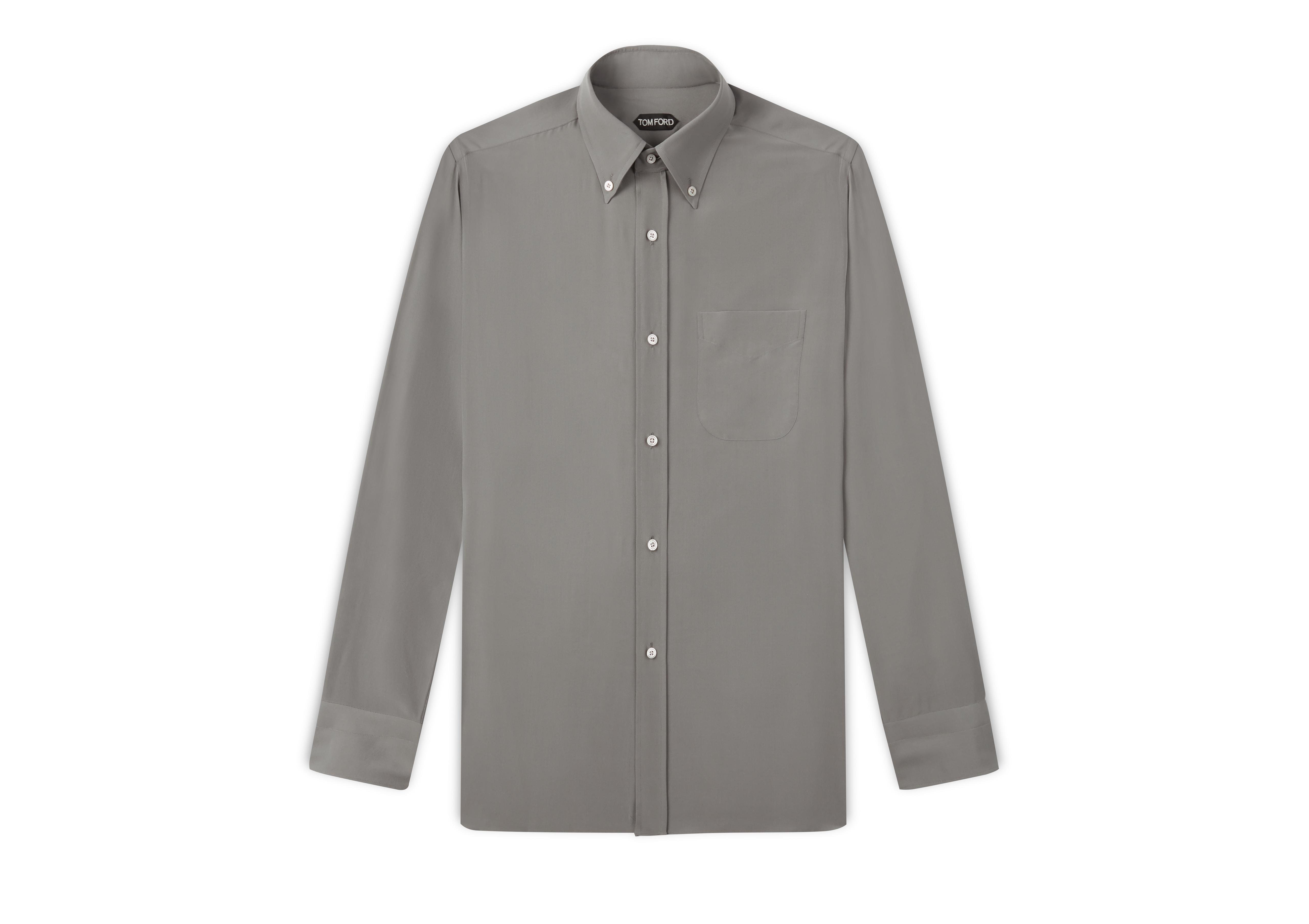 WASHED CREPE DE CHINE SPORT SHIRT A thumbnail