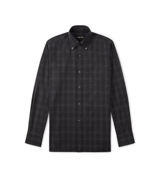 BLACK BRUSHED TONAL CHECK LEISURE SHIRT