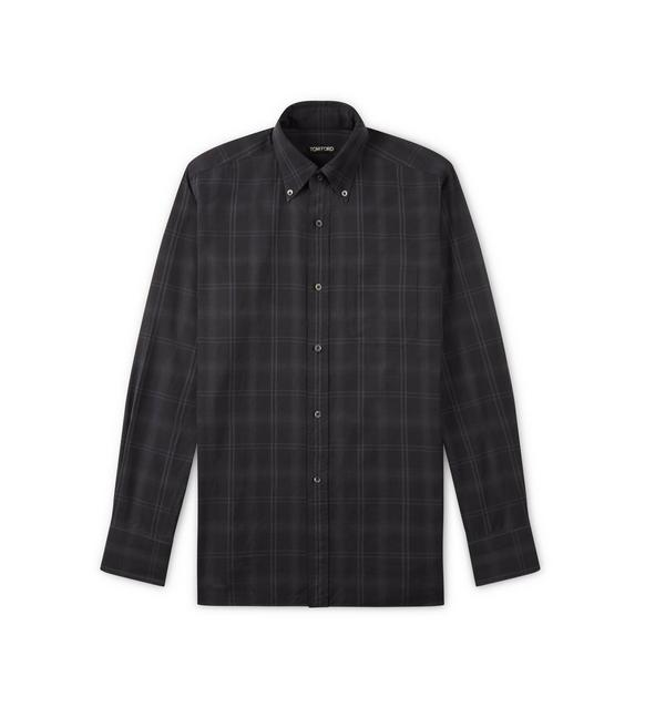 BLACK BRUSHED TONAL CHECK LEISURE SHIRT A fullsize