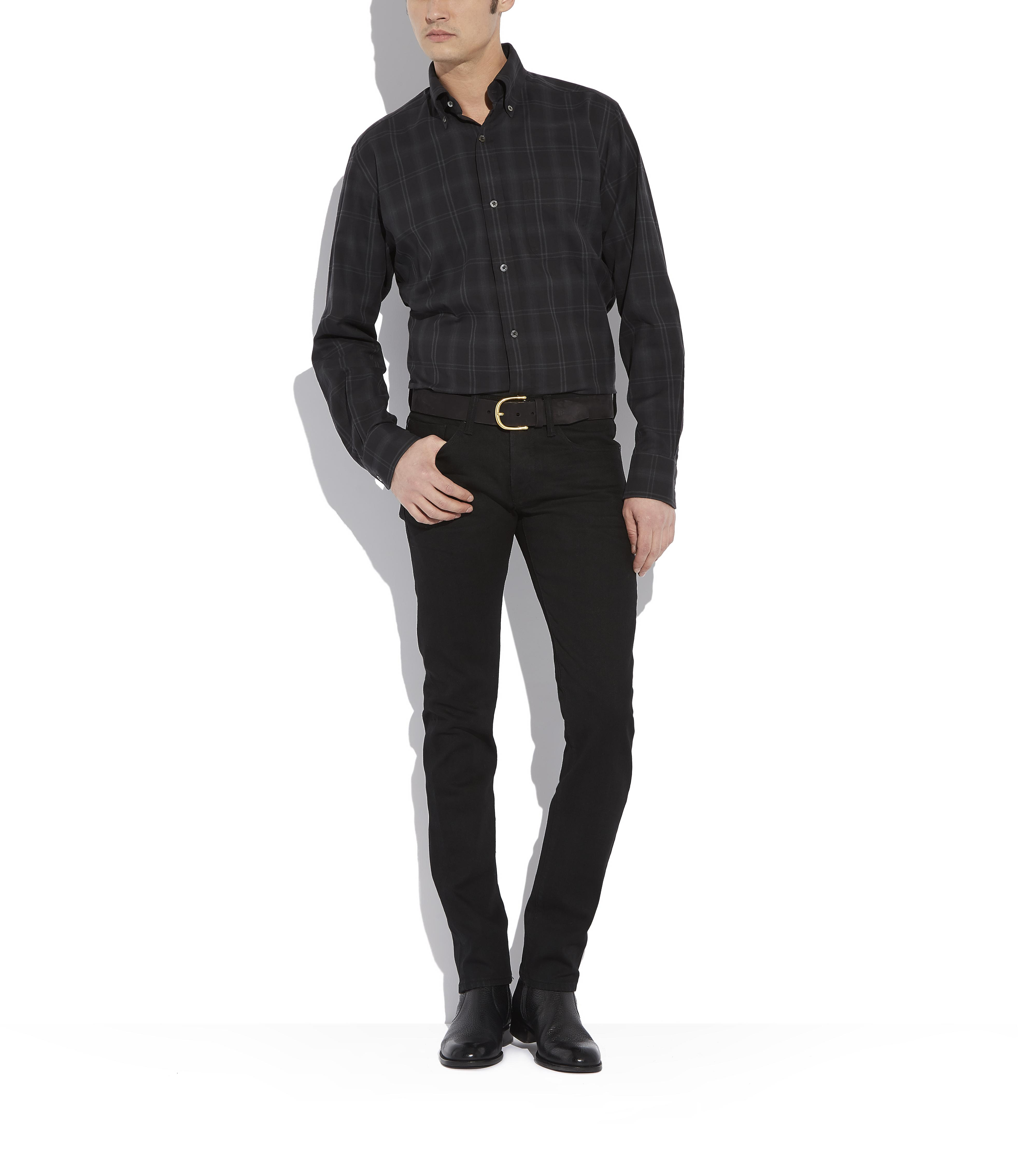 BLACK BRUSHED TONAL CHECK LEISURE SHIRT B thumbnail
