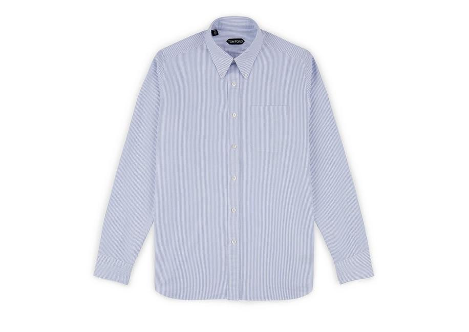 BLUE WASHED STRIPE OXFORD SHIRT A fullsize