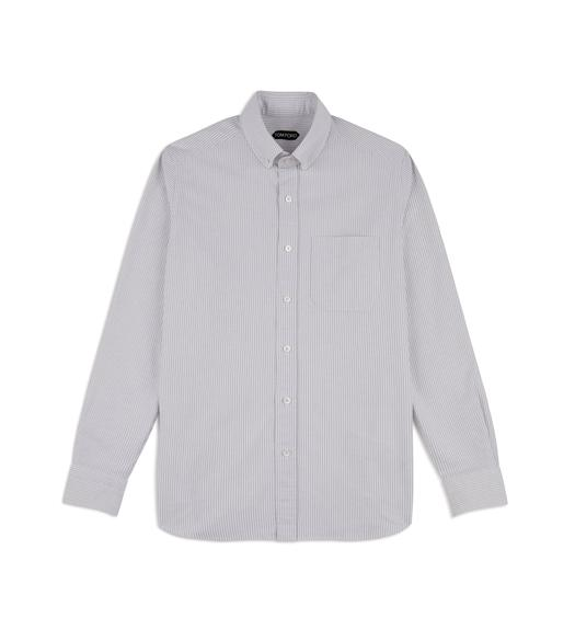 GREY WASHED STRIPE OXFORD SHIRT