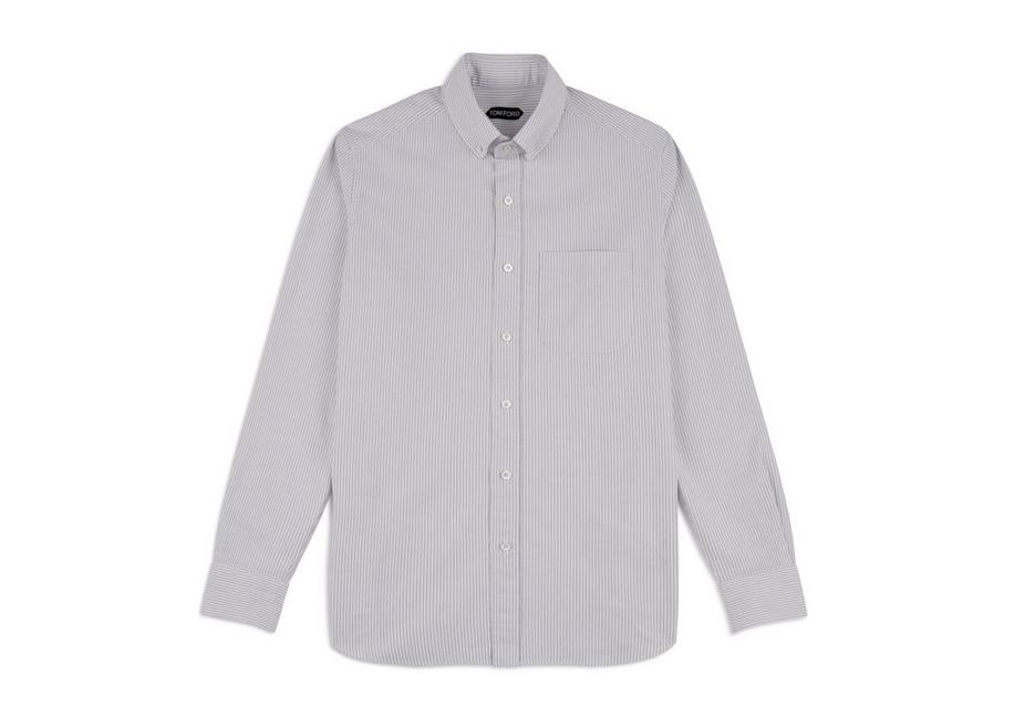 GREY WASHED STRIPE OXFORD SHIRT A fullsize